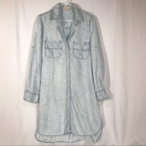 Cloth & Stone Chambray Shirt Dress Roll Tab Sleeve